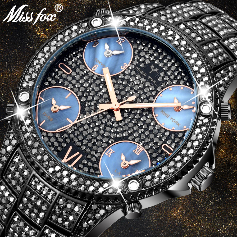 MISSFOX 51MM Large Dial New Fashion Luxury Brand Men's Black Watches Icd Bling Simulated Full Black Lab Dimaond Watch For Men
