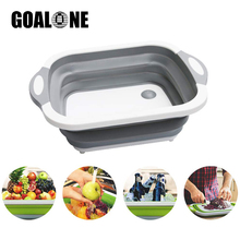 GOALONE Collapsible Wash Basin Foldable Cutting Board Vegetable Tub Drain Basket with Draining Plug for Kitchen Travel Camping