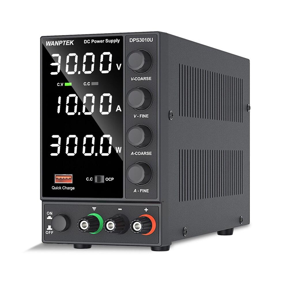 Wanttek-fuente de alimentación CC ajustable, Banco de Laboratorio Digital LED de 30V 10A, fuente de alimentación estabilizada, interruptor regulador de voltaje
