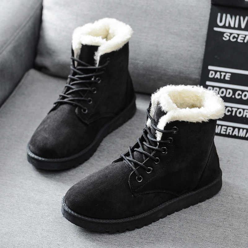 Kadın kışlık botlar sıcak yarım çizmeler kadın kar botları yuvarlak ayak kış ayakkabı kadın botları kadın ayakkabı artı boyutu 41 42 43