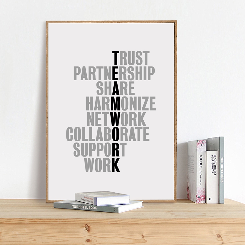 TeamWork Motivational Quotes Canvas Art Print Office Poster , Inspirational Quote Canvas Painting Poster Office Wall Art Decor image