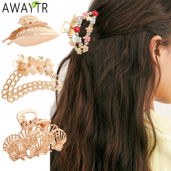 Women Flowers Geometric Hair Claw Clamps Crab Girls Metal Clip Claws Solid Color Ponytail Hairpin Accessories Bands