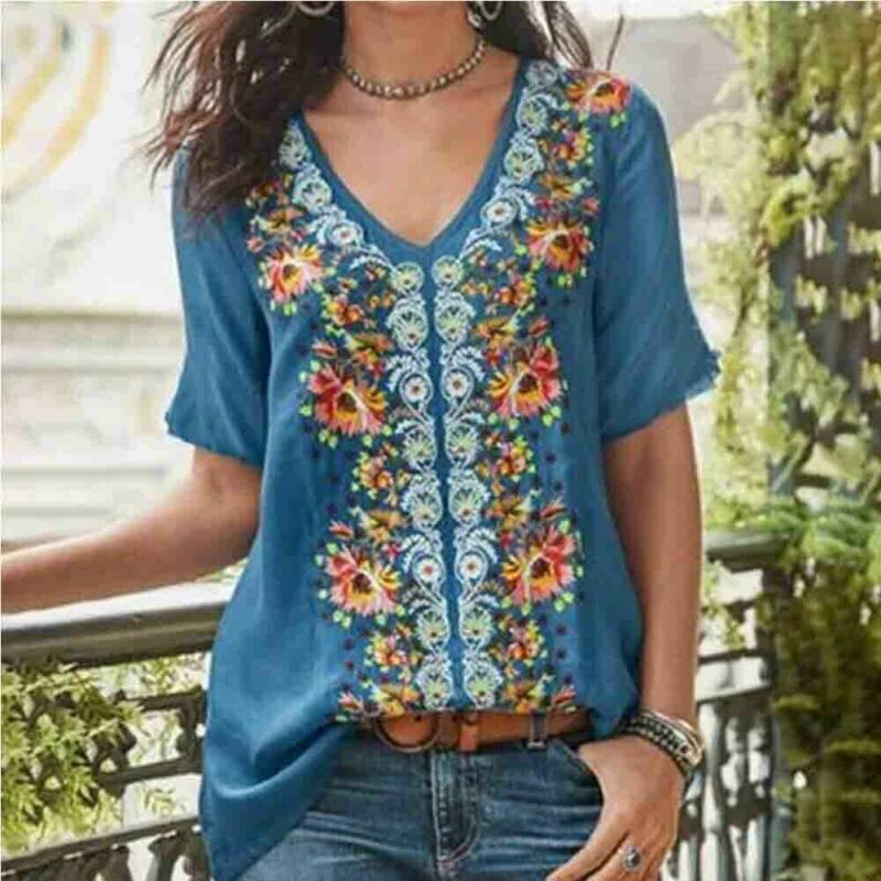 Loose Flower Fit Short Sleeve Ladies Womens V-Neck Top T-shirt Tops Pullover New Womens Summer Casual V-Neck T-shirt Plus Size