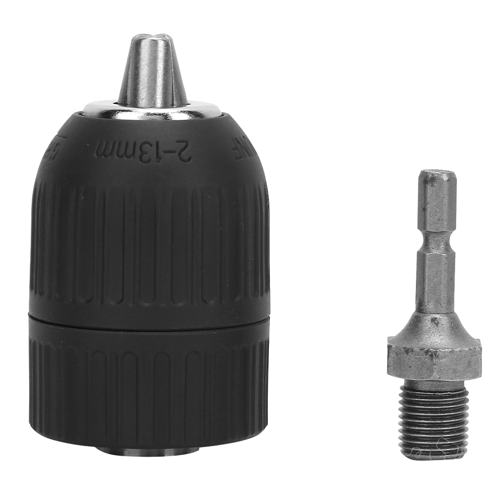 Plastic Casing 2.0-13mm Clamping Range <font><b>1/2</b></font>-<font><b>20UNF</b></font> Keyless Drill Chuck+1/4 Hex Connecting Rod Adapter Impact Hex Shank Drill Chuck image