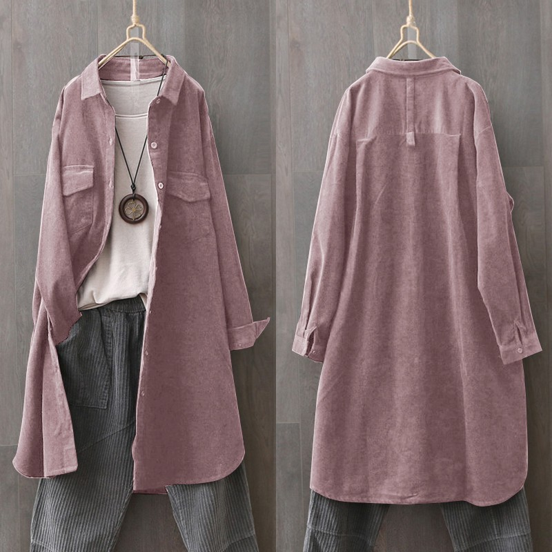 Vintage Casual Cardigans Shirts ZANZEA 2020 Women's Corduroy Blouse Long Sleeve Spring Tunic Female Button Down Blusas Oversized