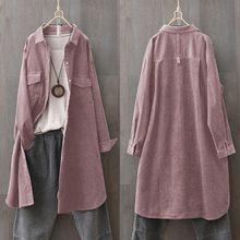 ZANZEA-camisas cárdigans informales Vintage para mujer, blusa de pana de manga larga, Túnica con botones, gran tamaño, primavera 2021