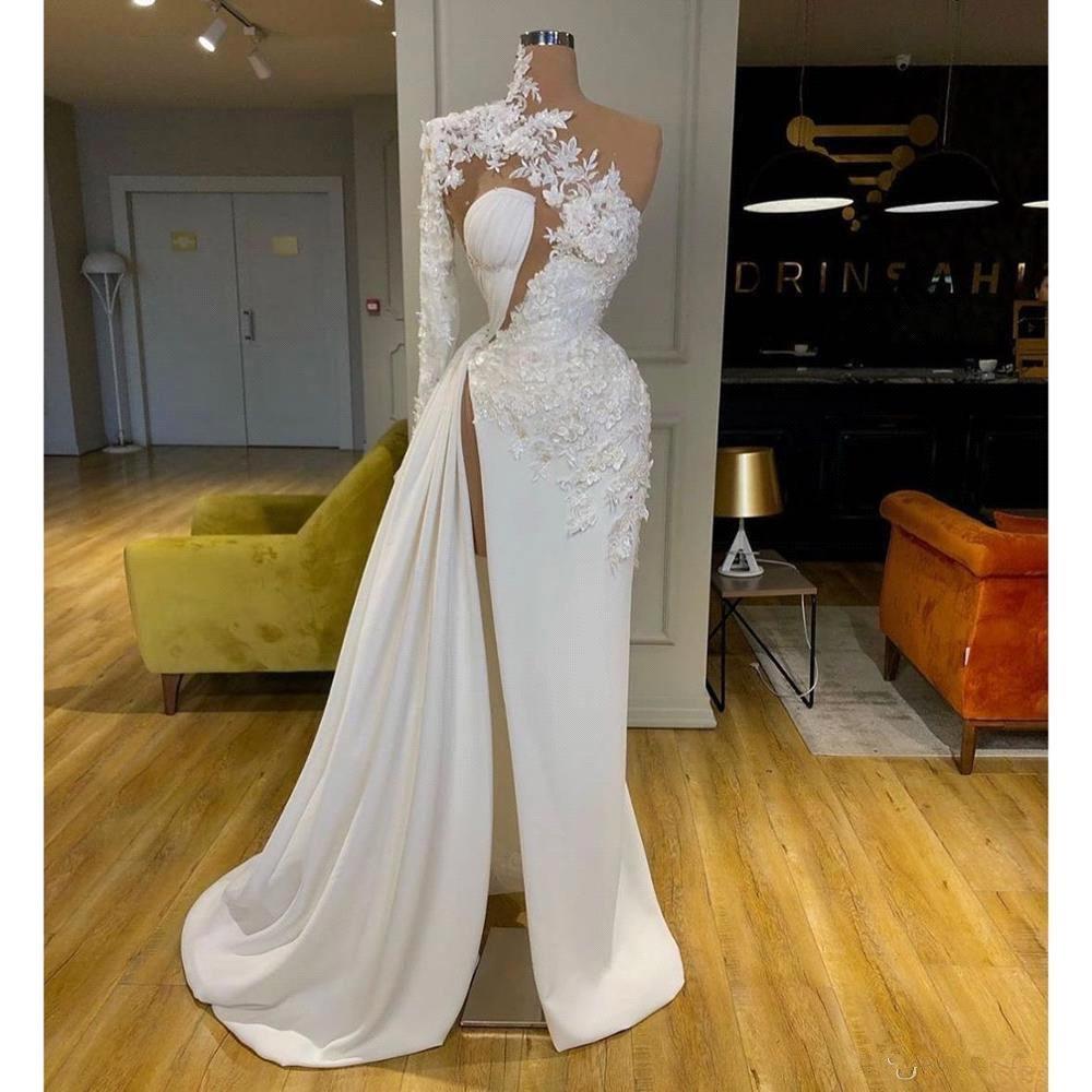 2020 New One Shoulder Lace Wedding Dress Robe De Mariee Sexy High Slit Long Sleeve Wedding Bridal Gowns Robe De Mariee