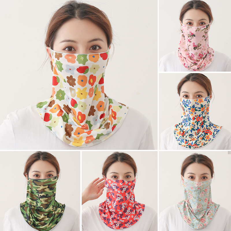 New Face Scarf Sunscreen UV Silk Neck Wraps Mouth Face Cover Women Floral Print Designer Thin Scarves Lady Bandana Summer