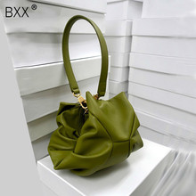 [BXX] Solid Color PU Leather Pleated Cloud Shoulder Bags For Women 2020 Fashion