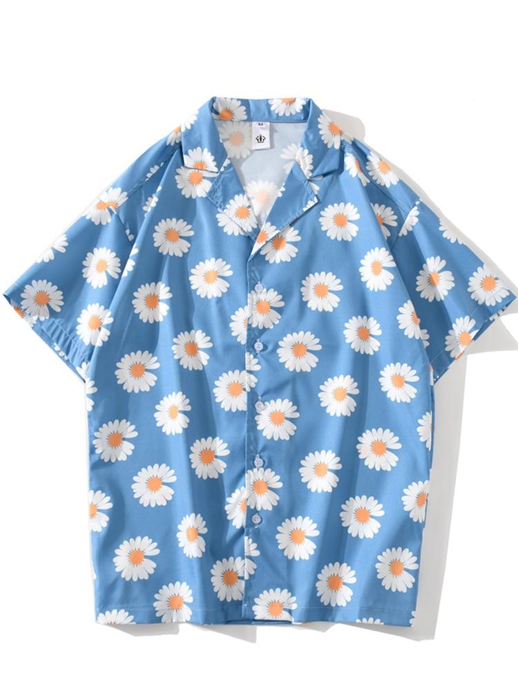 Hip-Hop-Shirts Short-Sleeve Daisy Flower-Print Streetwear Harajuku Retro Casual Beach