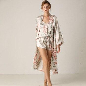 Print Flower 3PCS Nighty&Robe Suit Sleepwear Sexy Satin Kimono Gown Women Bathrobe Intimate Lingerie Nightwear Silky Nightgown slit side flower print kimono