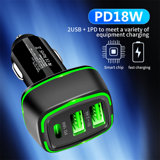 18w Dual USB Car Charger Quick Charge 3A TypeC Fast Charger for iPhone12 Xiaomi Huawei Samsung Moible Phone Universal PD Charger 2