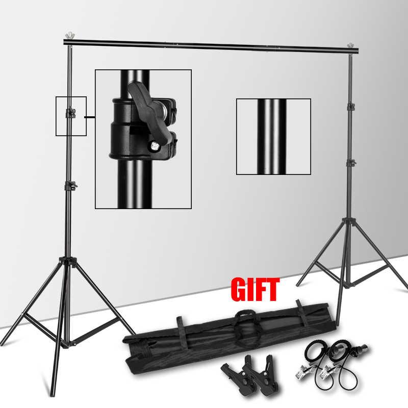 Soporte de fondo sistema de soporte de estudio de fotografía soporte de fondo con bolsa de transporte para fondos de Muslins, papel y lienzo
