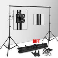 Suporte de suporte de fundo do sistema de fotografia estúdio suporte com saco de transporte para muslins backdrops, papel e lona