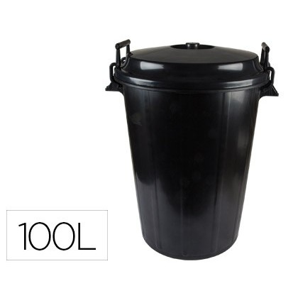 TRASH CAN BLACK WITH COVER FOR BAGS 85X105CM 100 LITERS