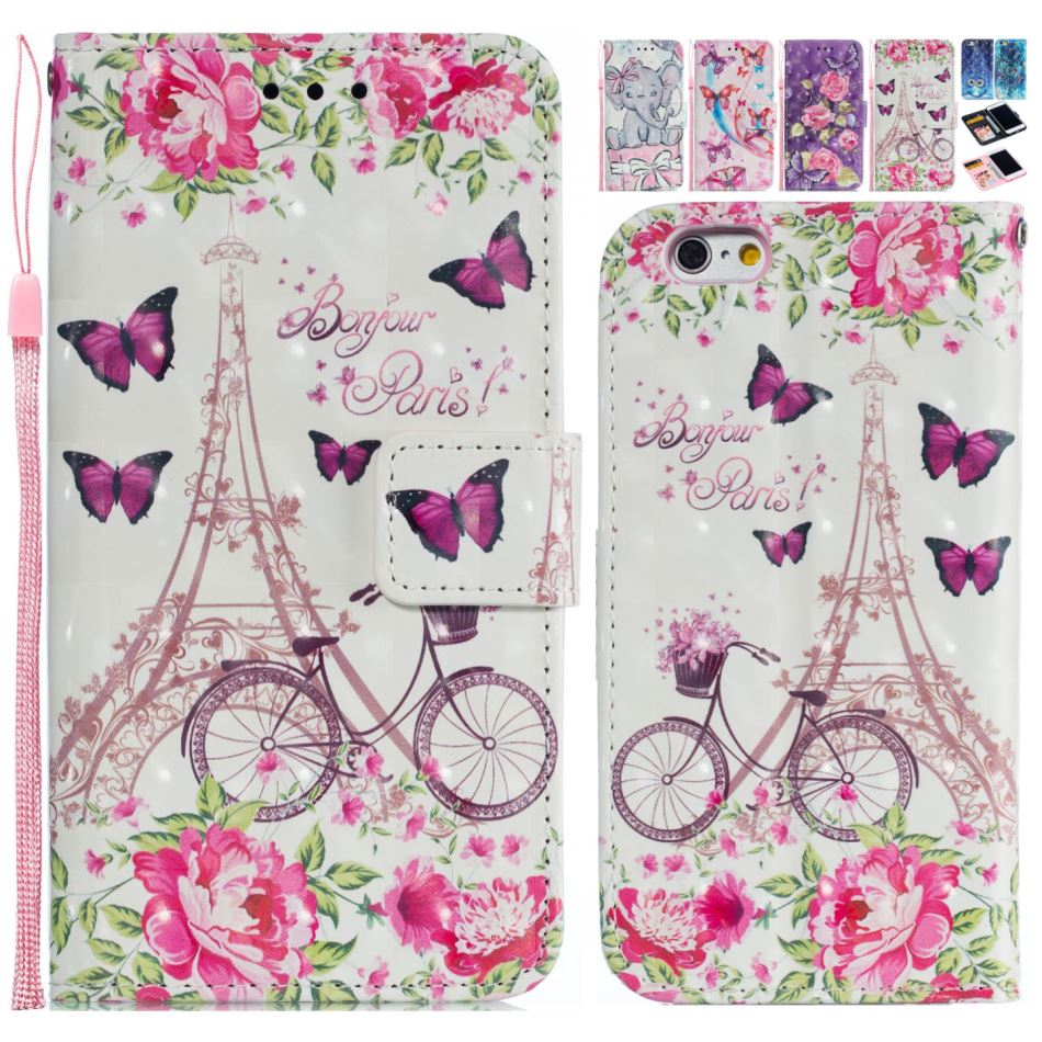 Painted Leather Cover Flip <font><b>Fundas</b></font> For <font><b>Huawei</b></font> Nova 3E <font><b>Y6</b></font> <font><b>2019</b></font> Y7 <font><b>2019</b></font> Y9 <font><b>2019</b></font> Romantic Cute Pattern Mobile Phone Case Girl P15F image