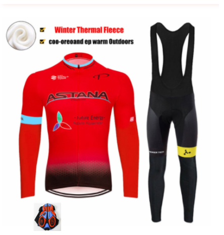 2019 New ASTANA Men's Thermal Fleece Winter Cycling Jersey Bib Pants Tights Kits Outdoor Sporting Biking Sets Cycling Outfits
