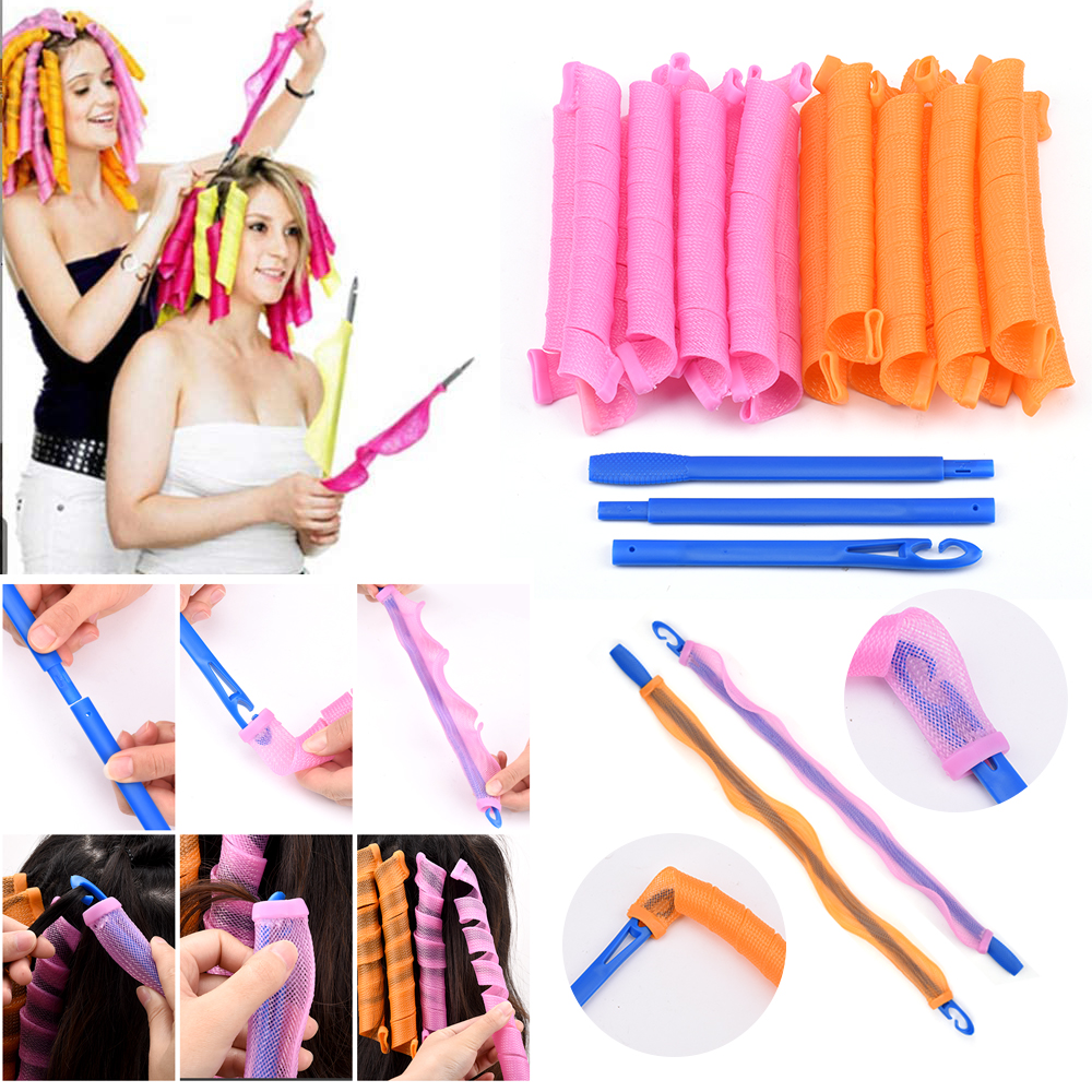 Magic Hair Curlers Rollers Lightweight Fashion Easy Hair Curler Spiral Roller 20CM-55CM For Women Heatless Waves 18Pcs