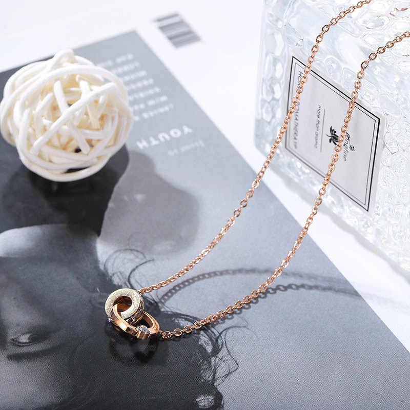 2019 nouveau Style coréen-style mode titane acier collier plein de cristaux Double bobines Shuanghuan créatif pendentif de qualité supérieure