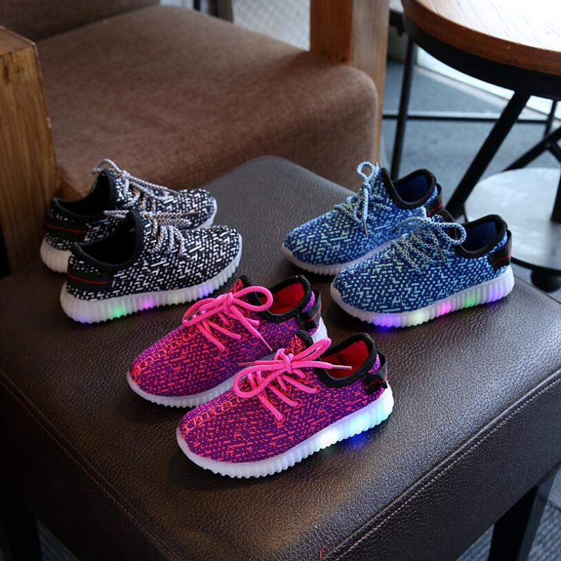 Kids Light Shoes Boys And Girls Casual Mesh Shiny Sports Shoes Breathable Soft Bottom Running Shoes