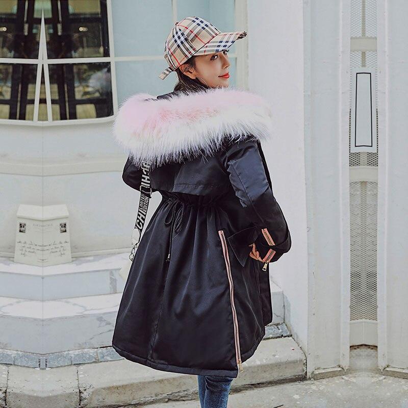 Chic Long Fur   Coat   Women Hooded Winter   Down     Coat   Oversize Jacket Thick Warm Cotton Padded Wadded Parkas Big Pocket Elastic Waist
