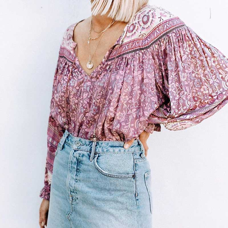 Boho Inspird Mulberry Floral Blouse V-neck With Tie Closure Chic Long Sleeve Blouse Shirt Women Autumn Top Chic Boho Blouse 2019