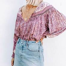 Boho Inspird Mulberry floral blouse V-neck with tie closure chic long Sleeve blouse shirt women autumn top chic boho blouse 2019 chic round neck raglan sleeve feather print blouse for women