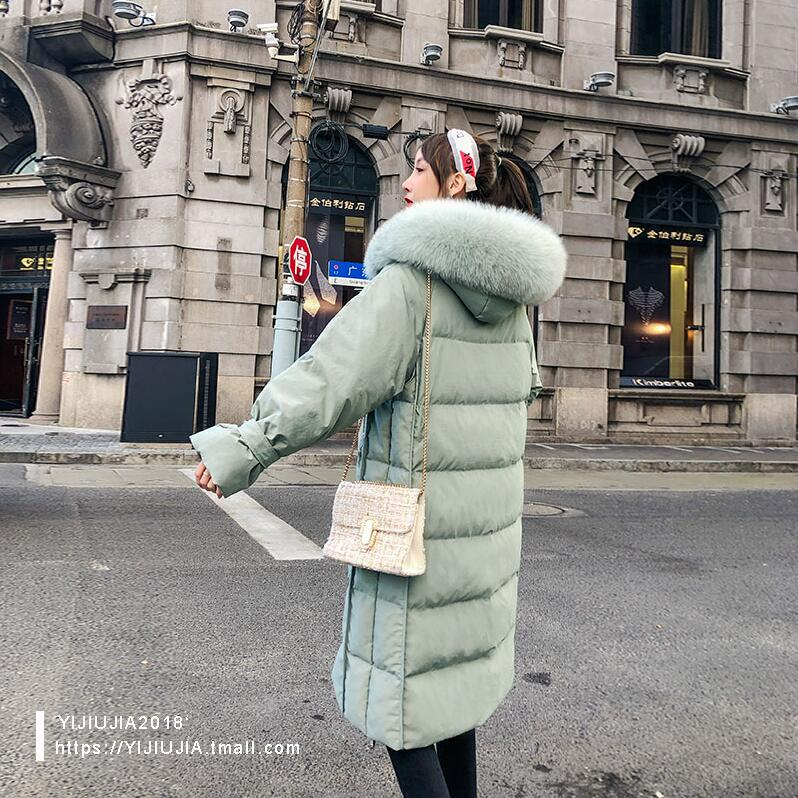 Image 2 - High quality Winter Women Coat Down Jacket 2019 Fashion Real fox fur collar 90% White Duck down Hooded Long Warm OutwearDown Coats   -