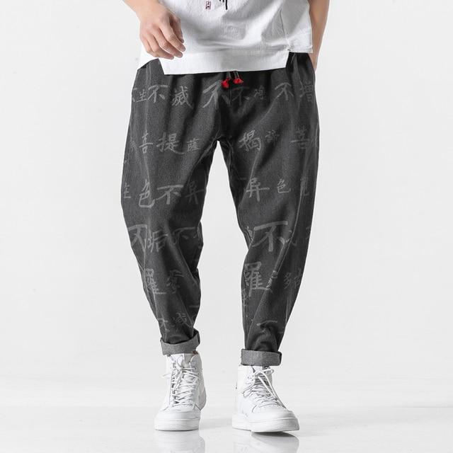 Personagem chinês impressão denim calças dos homens jogger japonês streetwear corredores calças dos homens hip hop calças calças masculinas 2020 novo 2
