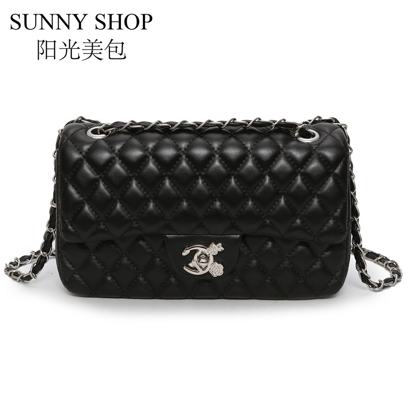 SUNNY SHOP Chain Handbags For Women Flap Shoulder Bag Small Diamond Lattice Bag Woman Designer Crossbody Bag Luxury High Quality