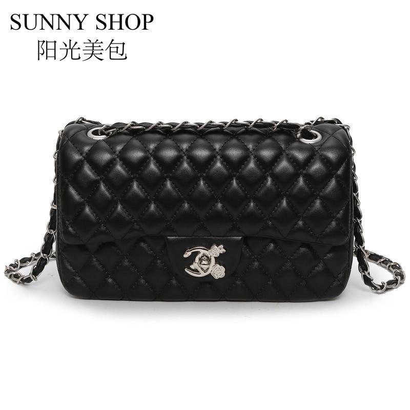 SUNNY SHOP Chain Handbags For Women Flap Shoulder Bag Small Diamond Lattice Bag Woman Designer Crossbody Bag Luxury High Quality