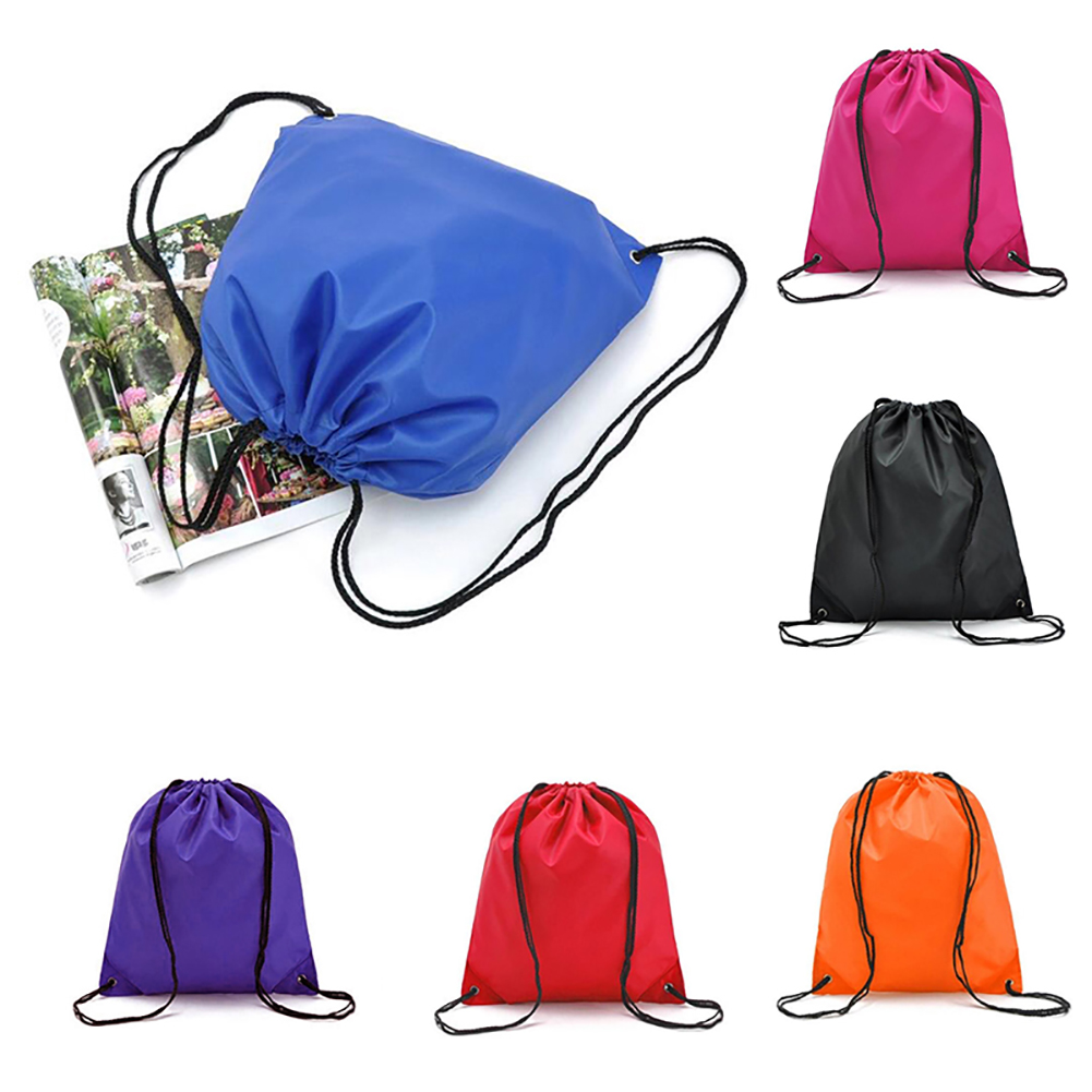 1 Pc New Durable Drawstring Bag Nylon Draw String Backpack Plain OR Personalised Sports Gym Bag Shoe Sack Clothes Organizer