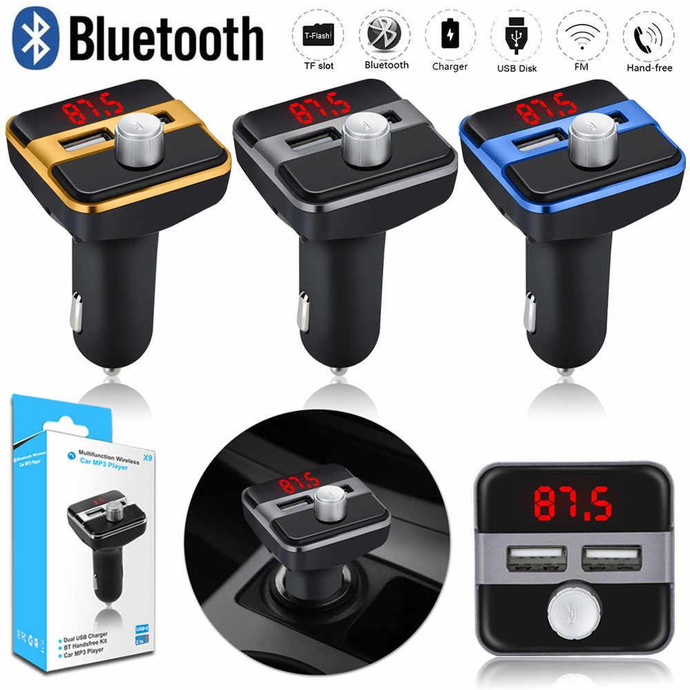 OMESHIN 車 MP3 プレーヤーワイヤレス Bluetooth カー Fm トランスミッタラジオ液晶 AUX SD カードデュアル 2 USB 充電器 Mp3 プレーヤー