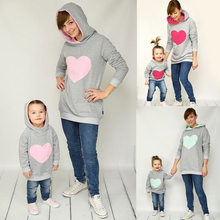 Family Matching Autumn Winter Hoodie Mother Daughter Sweatshirt Cotton Mom Kids Hoodies Fashion Outfits