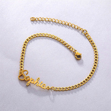 Anklets Jewelry-Accessories Custom-Name Bracelet Stainless-Steel Women for Gold-Plated