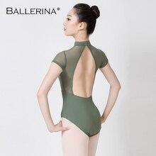 Balerin bale mayoları kadınlar mesh jimnastik uygulama mayoları yetişkin balıkçı yaka kısa kollu leotard 3572