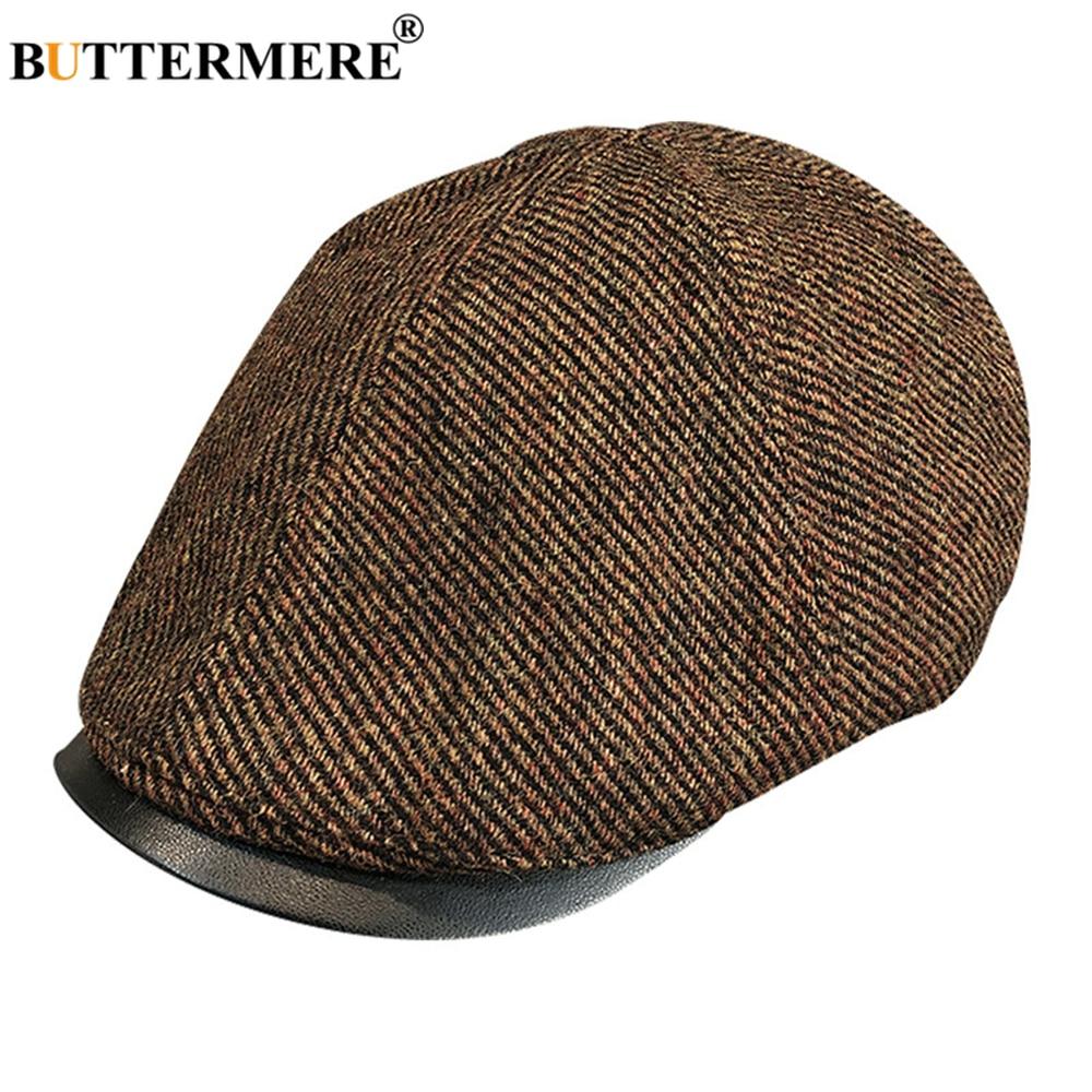 BUTTERMERE Ivy Cap Wool Tweed Flat Caps Men Vintage Newsboy Scally Hat Casual Autumn Winter Men's Brown Gray Driving Hats