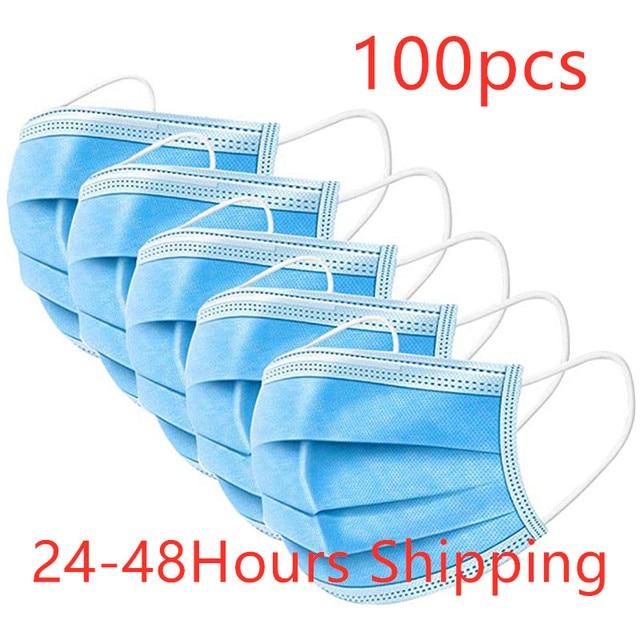 100pcs DROPSHIPPING Disposable Anti dust mask mouth korean blue Face Mask 3