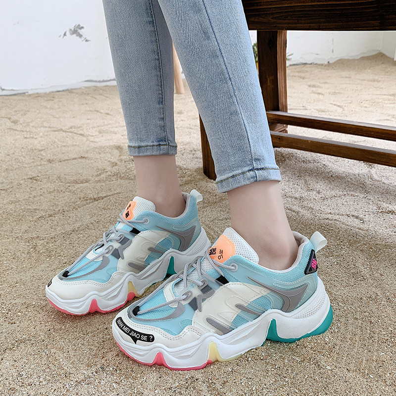 TEMOFON women's sneakers fashion casual platform shoes Height Increasing chunky sneakers Autumn Spring ladies footwear HVT1361 (19)
