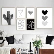 İskandinav tarzı aşk posteri siyah ve beyaz tuval boyama kaktüs oturma odası için duvar resimleri Nordic dekorasyon ev sanat