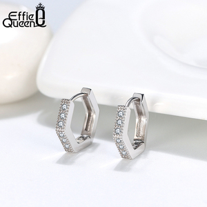 Image 2 - Effie Queen Woman Small Hoop Earring  925 Sterling Silver 12mm with AAAA Zircon Earring Jewelry Party Wedding Gift BE261