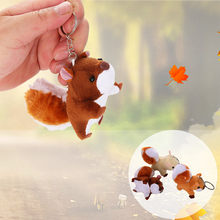 Cute Soft Squirrel Pendant Key Chain Funny Stuffed Plush Doll Kids Toy Gift Family Plush Toy Decorations mini cut Keychain Toys(China)