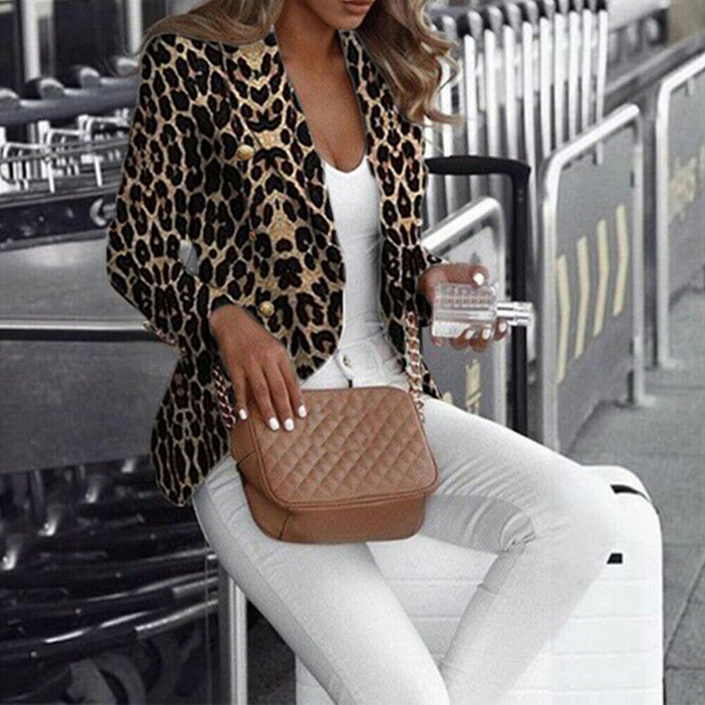 Leopard Blazer Stylish Women Spring Autumn Casual Leopard Print Blazers Jackets Work Office Lady Suit Slim Business Coat