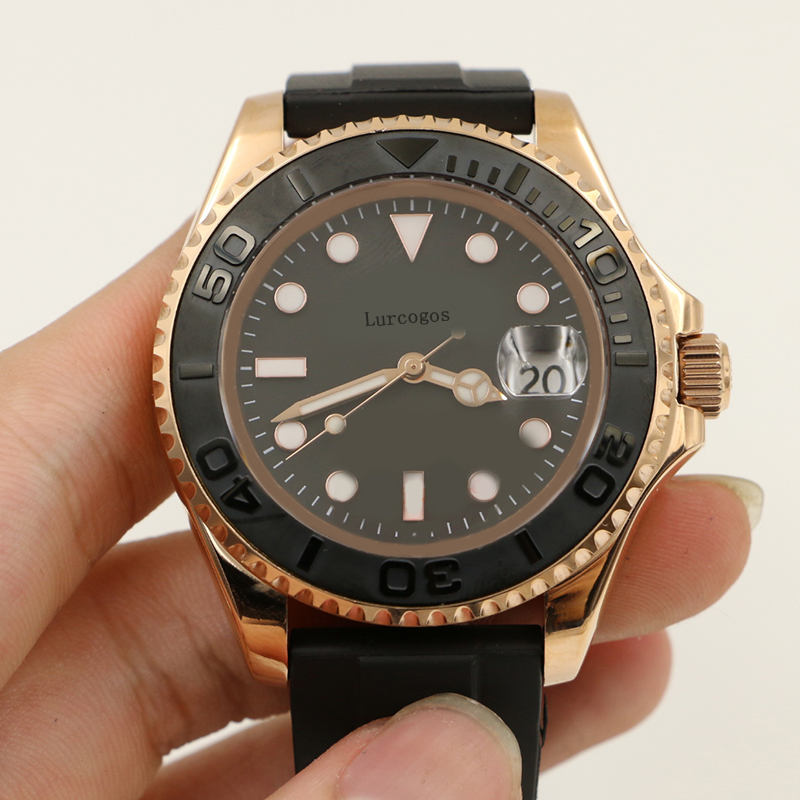 Black Rubber Oysterflex Strap Yacht Ceramic Bezel Master Mens Rose Gold Luxury Watch Automatic Reloj Master Wristwatches Watch