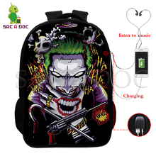 Teenage Travel School Bag for Boys Girls 16 Inch 3d Backpack Joker Students Schoolbag with Usb Charging Shoulder Backpacks Bag