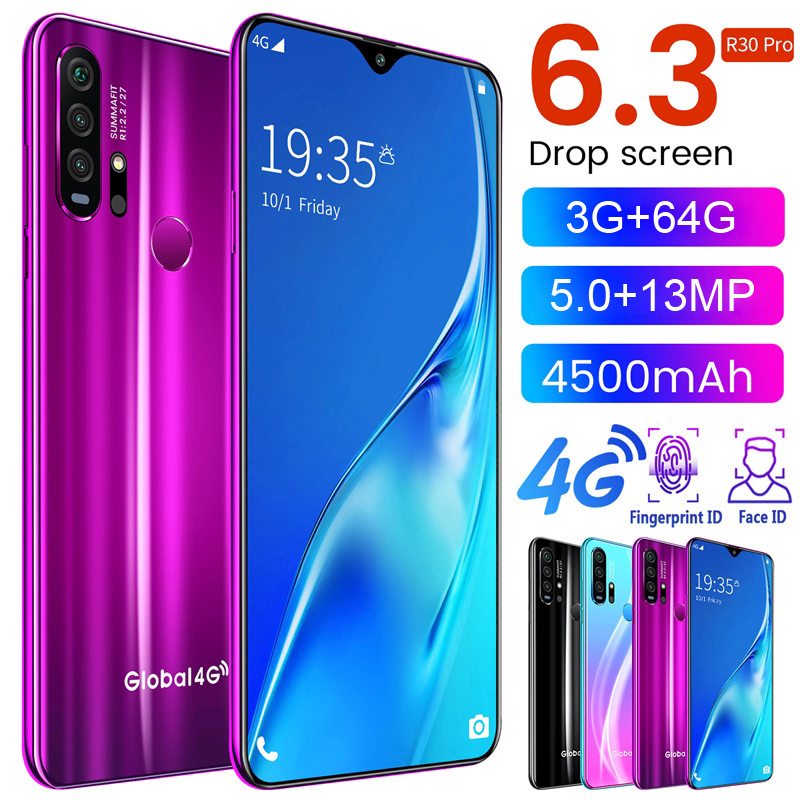 SAILF R30 Pro Android 64 Bit Quad Core Mobile Phone 6.3' FHD 13MP Triple Camera 3G RAM 64GB ROM Smartphone 4G LTE Global Version
