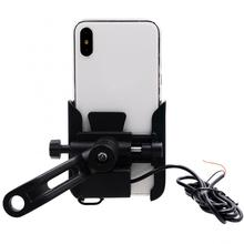 Motorcycle Phone Holder 360-Degree Rotation Bike Mirror Mount with USB Charger Motocycle Accessories Universal Holder