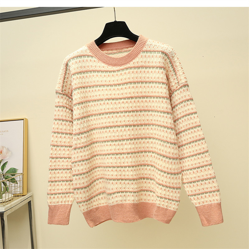 Stripe Thick Casual O-Neck All Match Warm Loose Knitted Sweater Pullover Autumn Knitwear Sueter Mujer Long Sleeve Women New 2019
