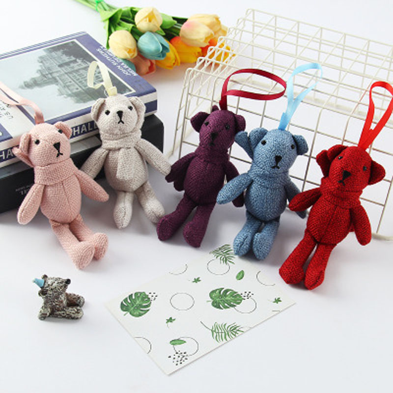 Bouquet Plush Dolls Animal Stuffed Rabbit Plush Dolls KeyChain Toy Kid's Party Plush Toy Gift Doll Bag Accessories K0071