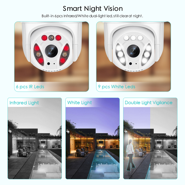 5MP Wifi IP-камера Наружная 3MP Ai Обнаружение человека Автоматическое слежение 5